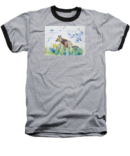 Watercolor - Fox On The Lookout Baseball T-Shirt
