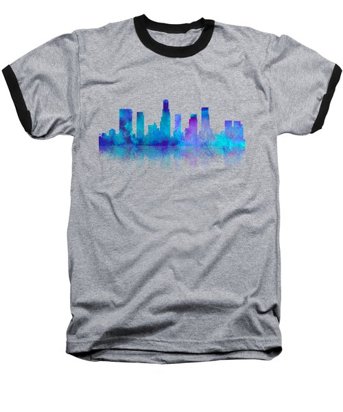 Watercolor Los Angeles Skylines On An Old Paper Baseball T-Shirt