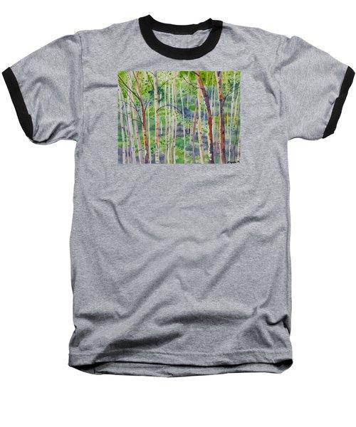 Watercolor - Magical Aspen Forest After A Spring Rain Baseball T-Shirt