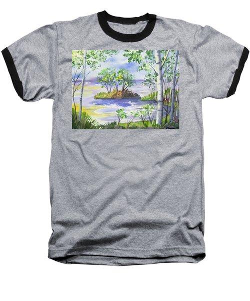 Watercolor - Minnesota North Shore Landscape Baseball T-Shirt
