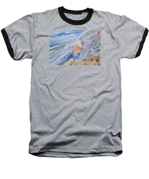 Watercolor - Mountain Goats On Quandary Baseball T-Shirt