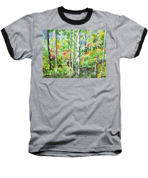 Watercolor - Northern Forest Baseball T-Shirt