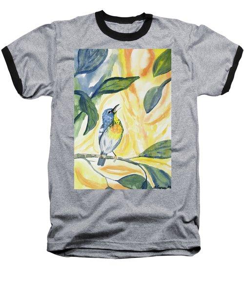 Watercolor - Northern Parula In Song Baseball T-Shirt