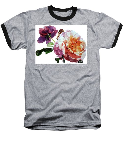 Watercolor Of Two Roses In Pink And Violet On One Stem That  I Dedicate To Jacques Brel Baseball T-Shirt