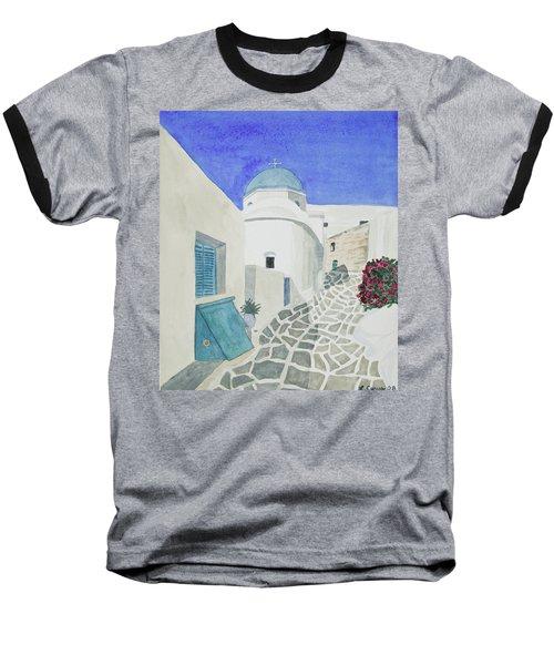 Watercolor - Paros Church And Street Scene Baseball T-Shirt