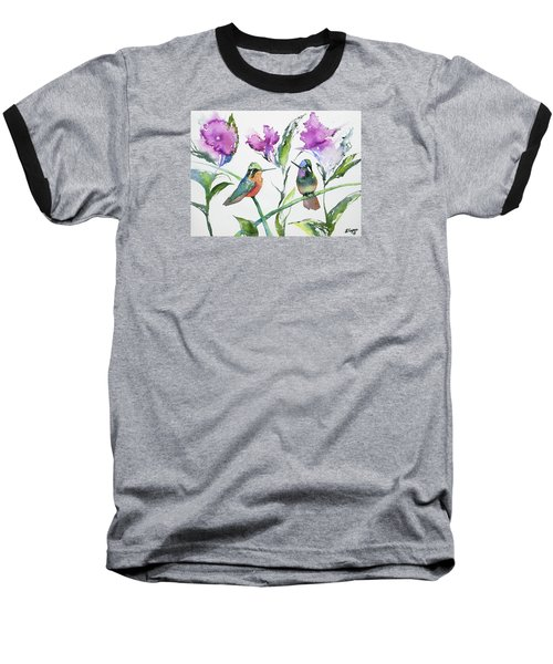 Watercolor - Purple-throated Mountain Gems And Flowers Baseball T-Shirt