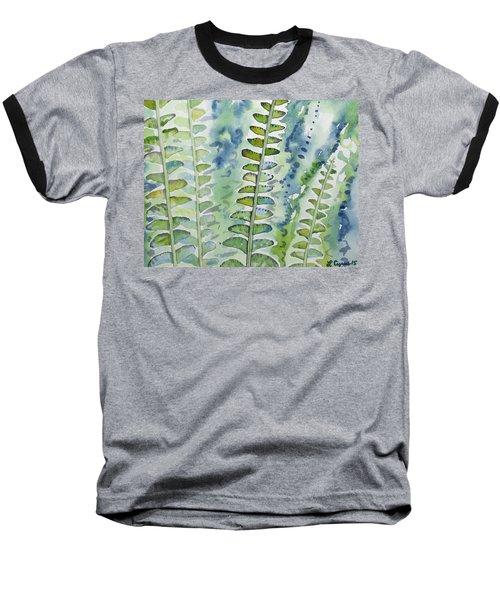 Watercolor - Rainforest Fern Impressions Baseball T-Shirt