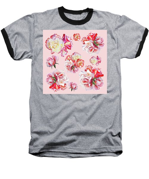 Baseball T-Shirt featuring the painting Watercolor Roses Pink Dance by Irina Sztukowski