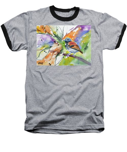 Watercolor - Spotted Antbird Baseball T-Shirt