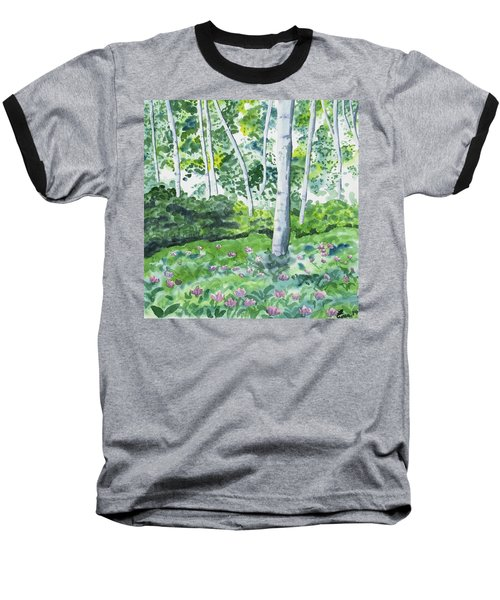 Watercolor - Spring Forest And Flowers Baseball T-Shirt