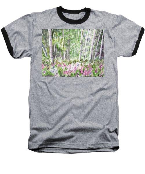 Watercolor - Summer Aspen Glade Baseball T-Shirt