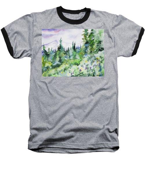 Watercolor - Summer In The Rockies Baseball T-Shirt