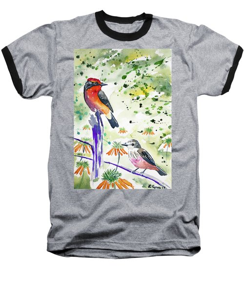 Watercolor - Vermilion Flycatcher Pair In Quito Baseball T-Shirt