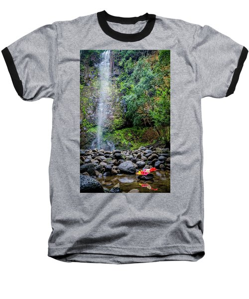 Waterfall And Flowers Baseball T-Shirt