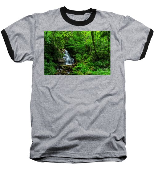 Waterfall And Rhododendron In Bloom Baseball T-Shirt