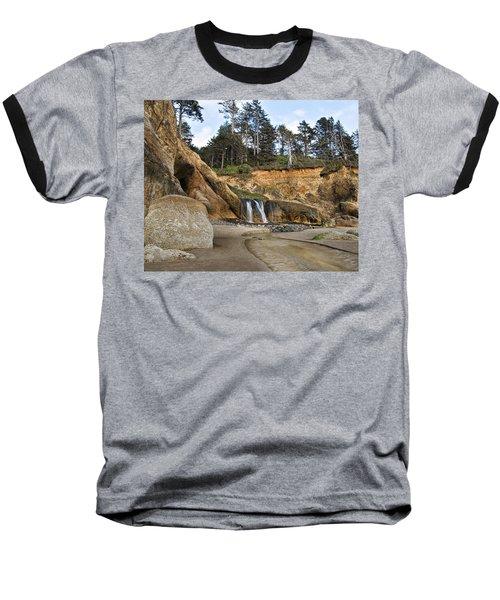 Waterfall At Hug Point State Park Oregon Baseball T-Shirt