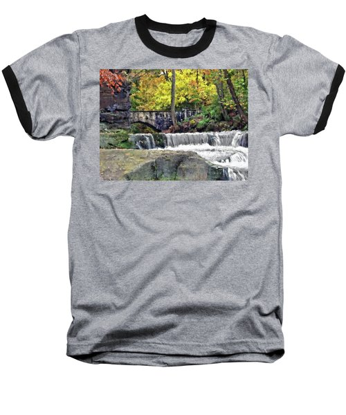 Waterfall At Olmsted Falls - 1 Baseball T-Shirt