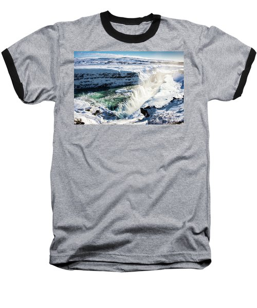 Baseball T-Shirt featuring the photograph Waterfall Gullfoss Iceland In Winter by Matthias Hauser