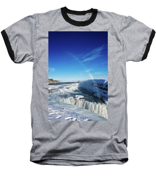 Baseball T-Shirt featuring the photograph Waterfall Gullfoss In Winter Iceland Europe by Matthias Hauser