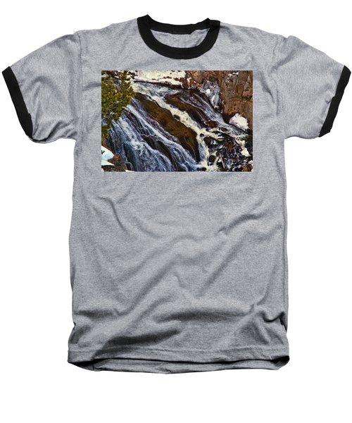 Waterfall In Yellowstone Baseball T-Shirt by C Sitton