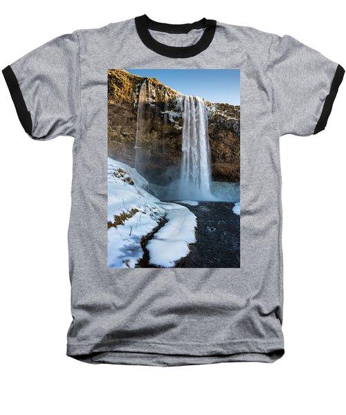 Baseball T-Shirt featuring the photograph Waterfall Seljalandsfoss Iceland In Winter by Matthias Hauser