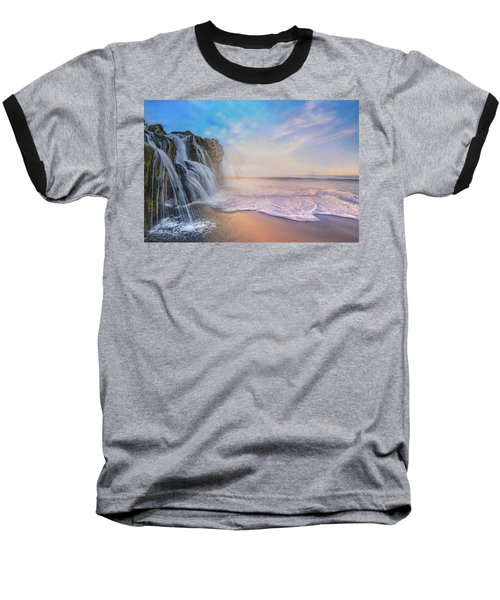 Waterfalls Into The Ocean Baseball T-Shirt