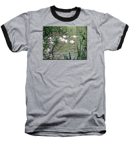 Waterfowl At The Park Baseball T-Shirt by Mikki Cucuzzo