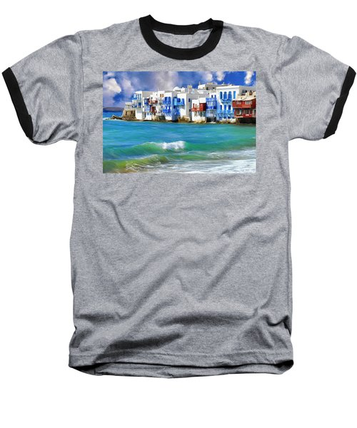 Waterfront At Mykonos Baseball T-Shirt by Dominic Piperata