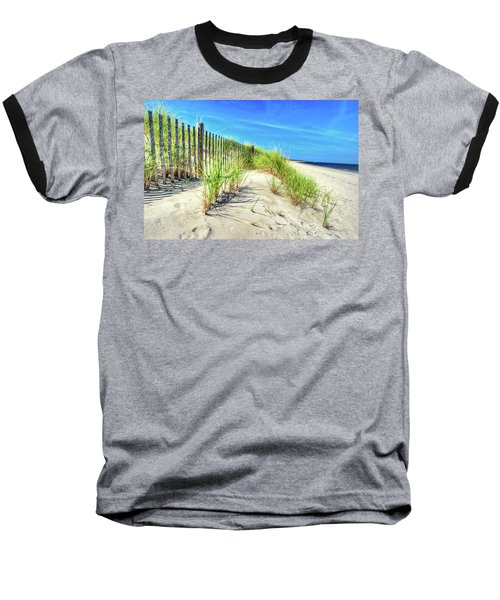 Baseball T-Shirt featuring the photograph Waterfront Sand Dune And Grass by Gary Slawsky