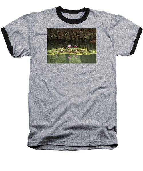 Waterlilies And Cyprus Knees Baseball T-Shirt by Linda Geiger