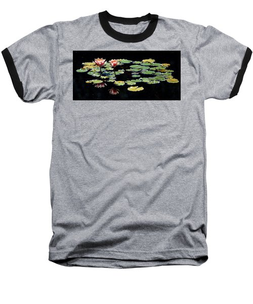 Baseball T-Shirt featuring the painting Waterlily Panorama by Marilyn Smith