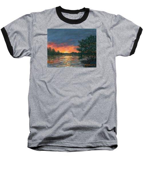 Baseball T-Shirt featuring the painting Waterway Sundown by Kathleen McDermott