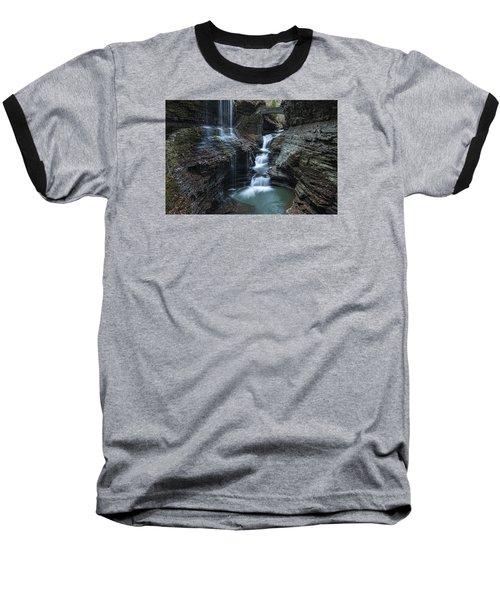 Watkins Glen Rainbow Falls Baseball T-Shirt by Stephen Stookey