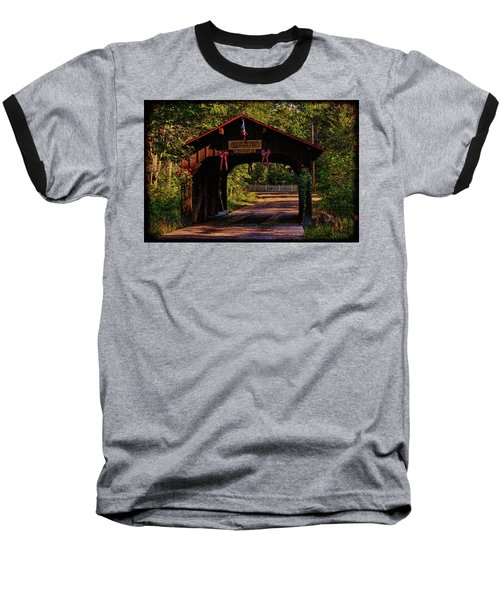 Baseball T-Shirt featuring the photograph Waupaca Covered Bridge by Trey Foerster