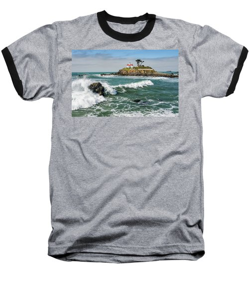 Baseball T-Shirt featuring the photograph Wave Break And The Lighthouse by Greg Nyquist