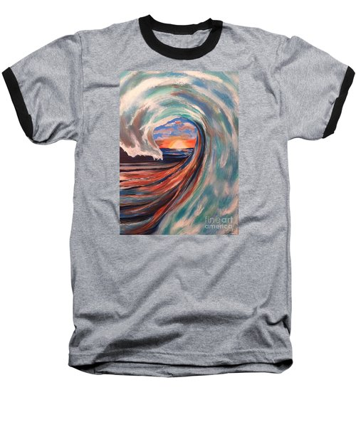Baseball T-Shirt featuring the painting Wave by Denise Tomasura