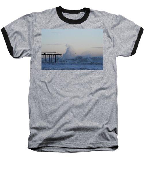 Wave Towers Over Oc Fishing Pier Baseball T-Shirt
