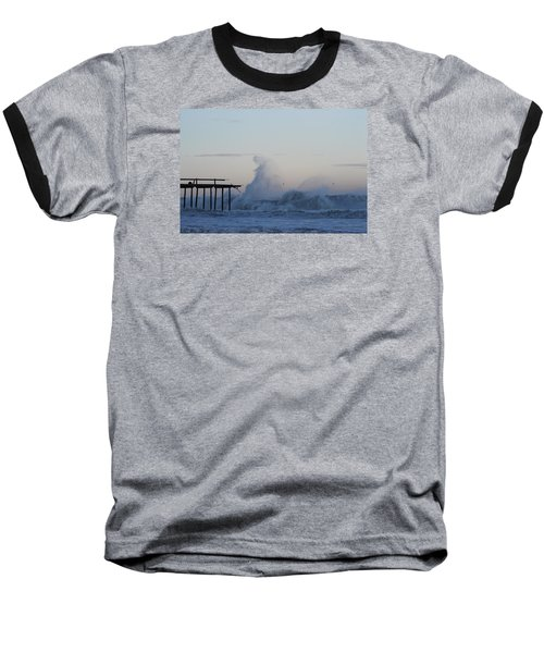 Wave Towers Over Oc Fishing Pier Baseball T-Shirt