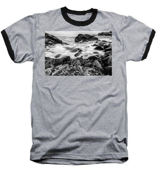 Waves Against A Rocky Shore In Bw Baseball T-Shirt