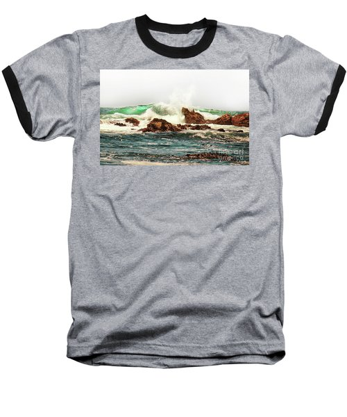 Waves Against The Rocks In Pacific Grove California Baseball T-Shirt
