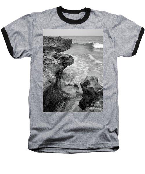 Waves And Coquina Rocks, Jupiter, Florida #39358-bw Baseball T-Shirt