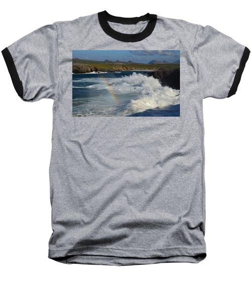 Waves And Rainbow At Clogher Baseball T-Shirt by Barbara Walsh
