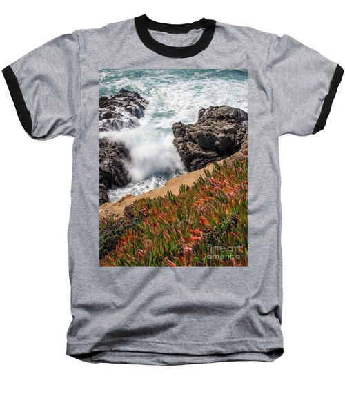 Waves And Rocks At Soberanes Point, California 30296 Baseball T-Shirt