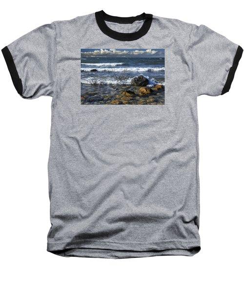 Waves Crashing Ashore At Northport Point On Lake Michigan Baseball T-Shirt