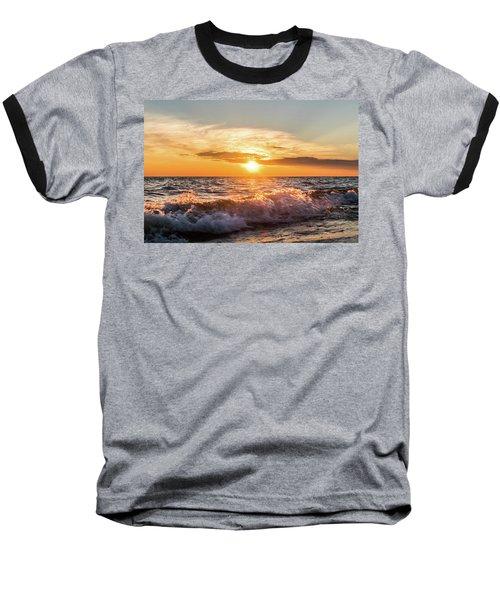 Waves Crashing With Suset Baseball T-Shirt