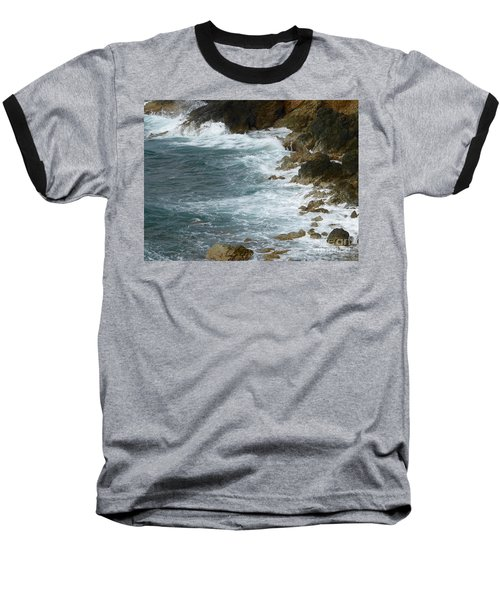 Waves Lashing Rocks Baseball T-Shirt by Margaret Brooks