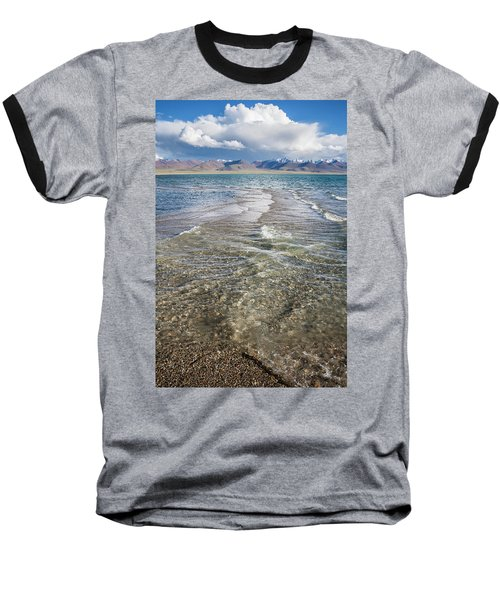 Baseball T-Shirt featuring the photograph Waves Of Namtso, Tibet, 2007 by Hitendra SINKAR