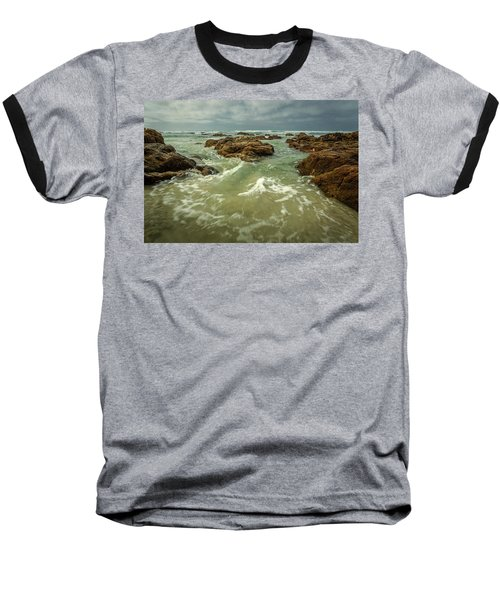 Waves Over Boulders Baseball T-Shirt