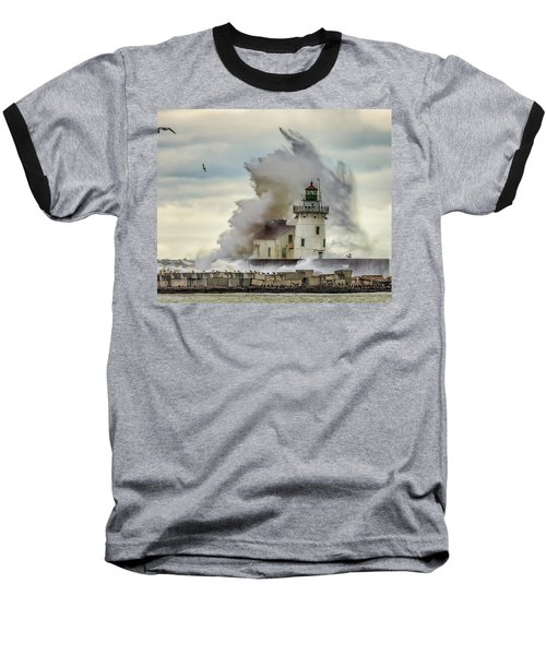 Waves Over The Lighthouse In Cleveland. Baseball T-Shirt