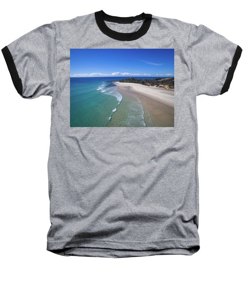 Waves Rolling In To North Point Beach On Moreton Island Baseball T-Shirt